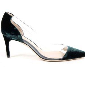 Shoes - Green Velvet Kitten Heels